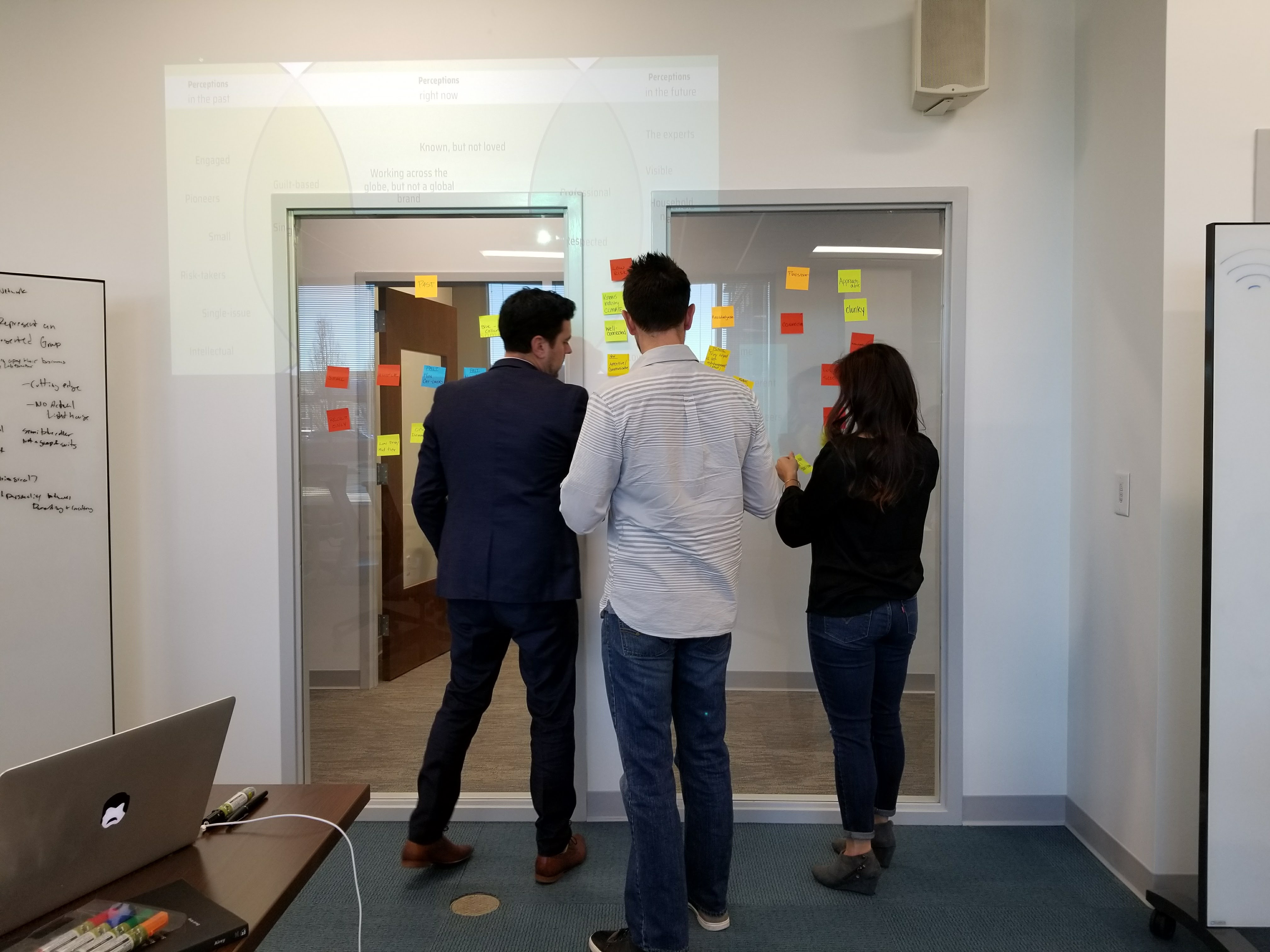 three people putting stickynotes on a chart on a window